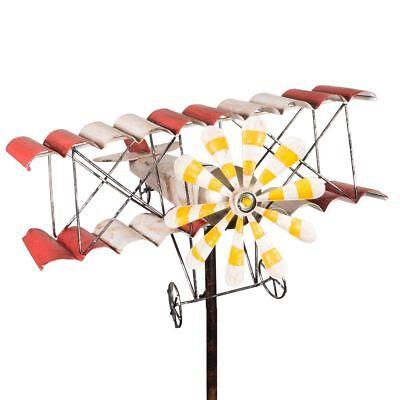 Doppeldecker VINTAGE Flugzeug Gartenstecker Windspiel Propeller