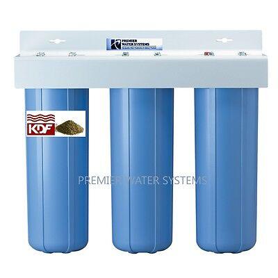 "TRIPLE BIG BLUE 20'' WATER Purify SYSTEM 1"" Sediment/Carbon block/KDF55-GAC"