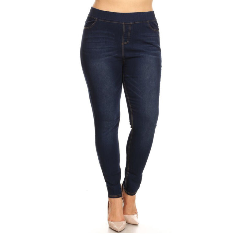 Womens True Plus Size Pull On High Waist Denim Pants Comfy Jeggings With Pockets
