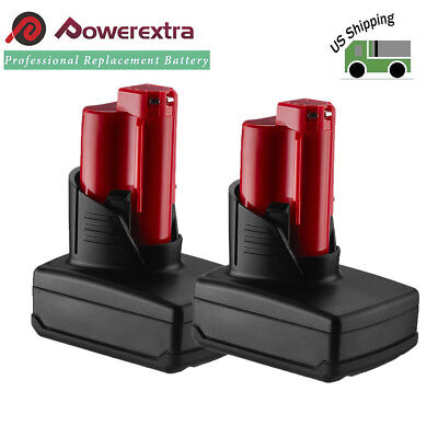 2Pack 5.0Ah 12V Lithium Replace XC Battery For Milwaukee 48-11-2401 M12 Drill
