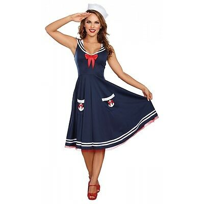 Sailor Girl Costume Adult 50s Swing Dress Halloween Fancy Dress