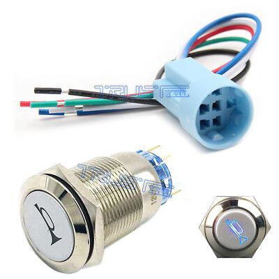 19mm Socket Plug12v Momentary Blue Car Horn Push Button Toggle Light Switch