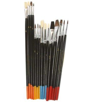 Used, Artist Painting Brush Set 15 Natural Hair Brushes Hobby Craft Paint Kit Supplies for sale  Shipping to India