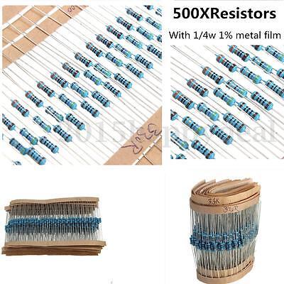 500 Pack, 20 each 25 values Resistors Metal Film 1/4w 1% Kit/Assortment/Mix