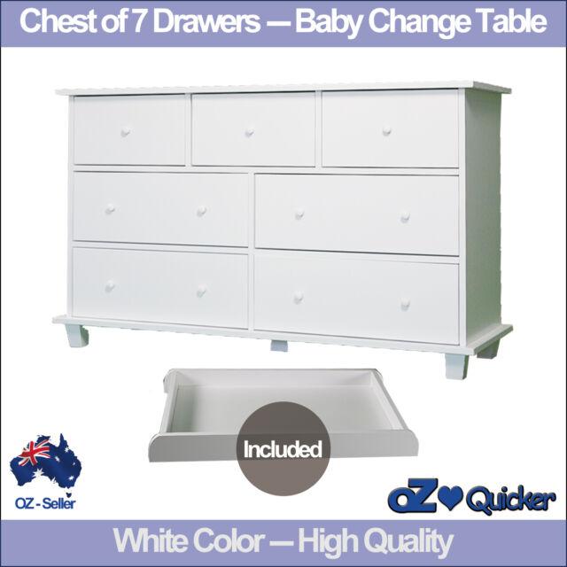 Baby Change Table Nursery Dresser Chest Storage 7 Drawers Cabinet ...