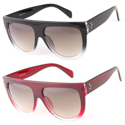 Retro Square Frame Sunglasses Mens Womens Flat Top Square Fashion (Large Square Frame Sunglasses)