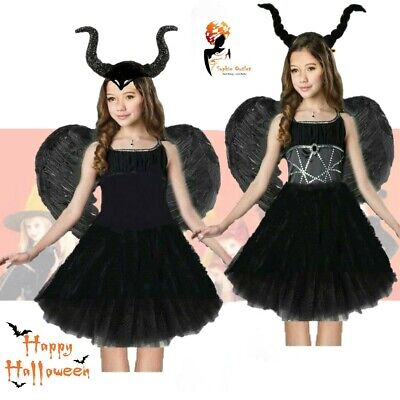 Dark Fairy Halloween (DARK DEVIL BLACK FEATHER FAIRY HALLOWEEN COSTUME Fancy Dress Party Outfit)