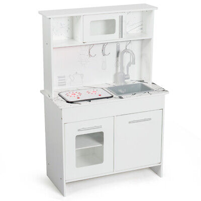 Kids Kitchen Playset Pretend Toys Cooking Food Set w/Utensils Toddler Gift White