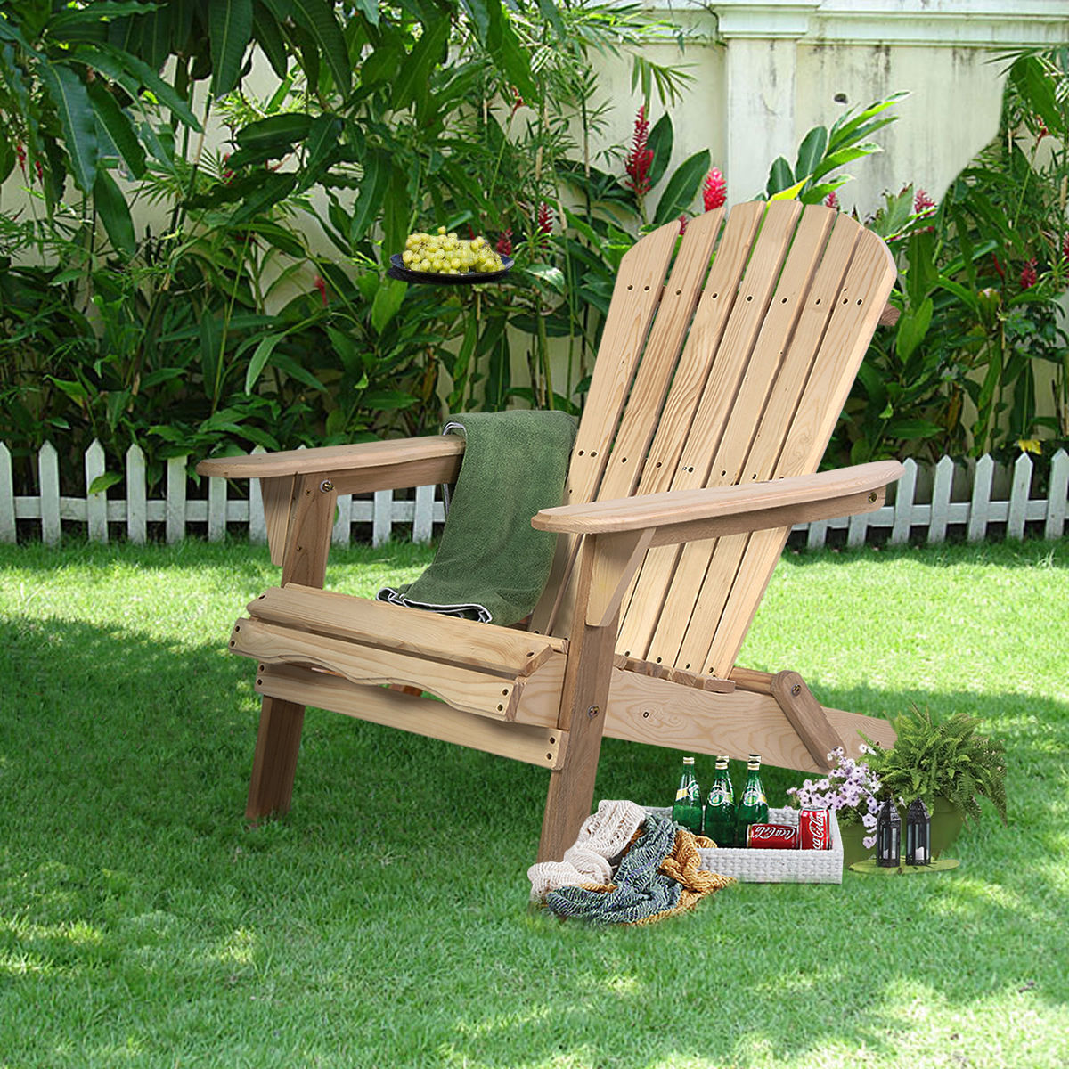 Garden Furniture - Outdoor Adirondack Wood Chair Folding Patio Lawn Garden Furniture W/Plans