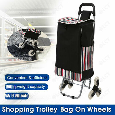 Folding Shopping Trolley Dolly Cart Bag With Stool Wheel Portable Grocery Holder