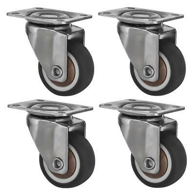4 Pack 1.25 Low Profile Swivel Plate Brown Rubber Caster Wheels