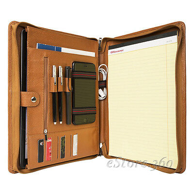 Cowhide Leather Portfolio Zippered Organizer Pad Handled Card Holder Case Folder