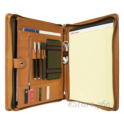 Cowhide Leather Portfolio Zippered Organizer Pad Handled Card Holder Case Folder