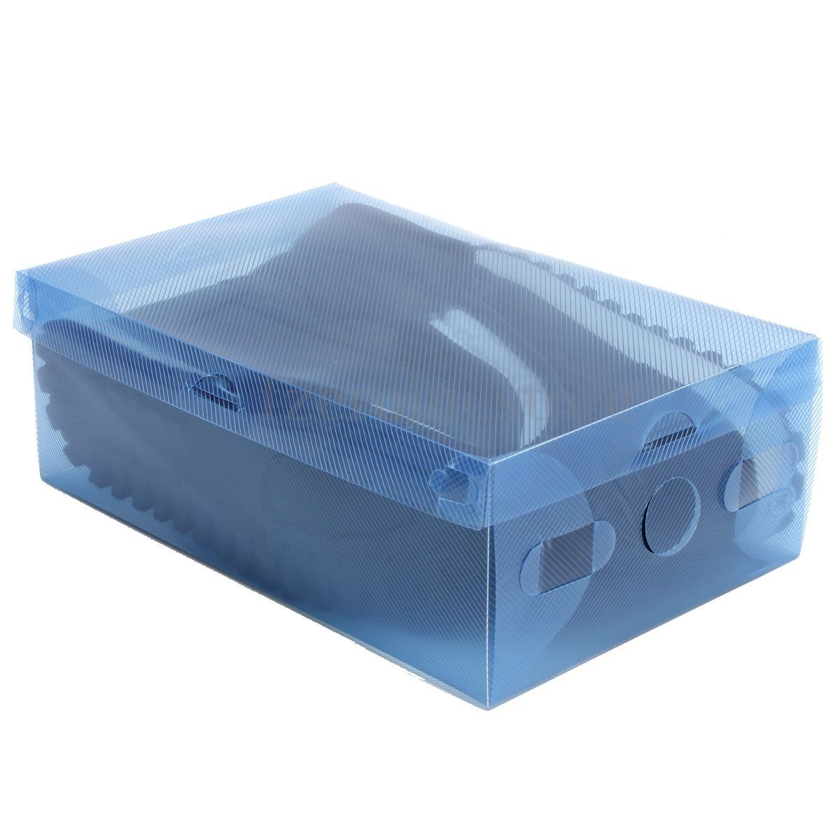 Plastic shoes box clear diy stackable holder colorful for Diy shoe storage with cardboard