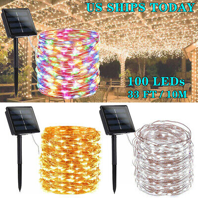 Solar Power LED String Lights 100 Copper Wire 33 ft. Waterproof Outdoor Fairy ()
