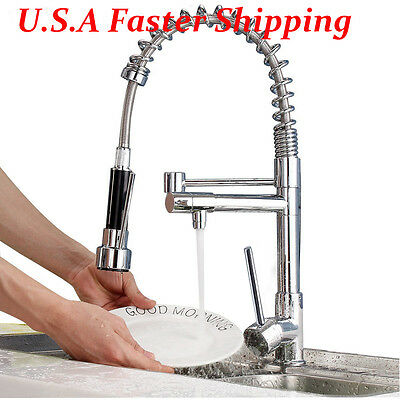 Chrome Kitchen Swivel Spout Faucet Single Handle Sink Pull Down Spray Mixer Tap