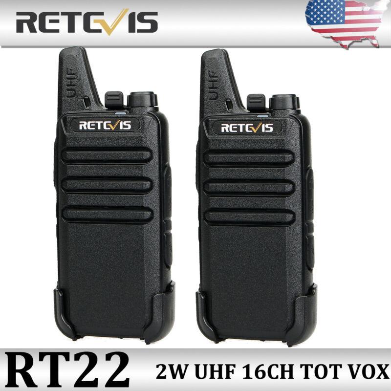 2XRetevis RT22 FRS Walkie Talkie Handheld UHF VOX 16CH Two Way Radio Long Range