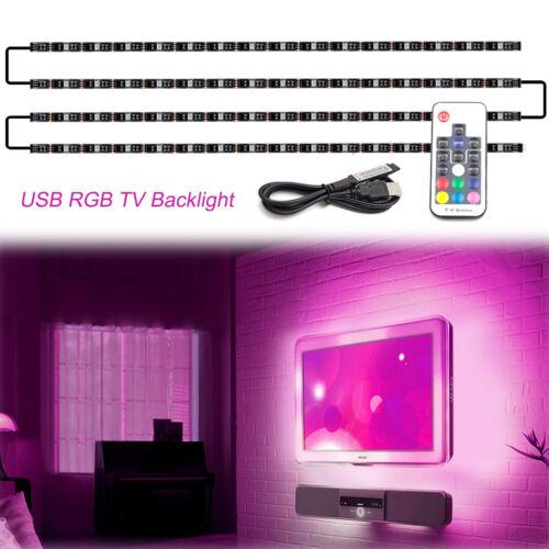WOWLED Pre-Soldered USB 4pcs 50cm RGB LED Strips Light Backlighting + Mood Light