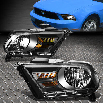 FOR 2010-2014 FORD MUSTANG PAIR BLACK HOUSING AMBER CORNER HEADLIGHT/LAMP SET