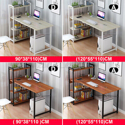 Computer Desk Table Laptop Display Bookshelf Study Writing Home Office 4 Tier