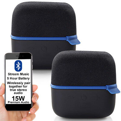 2x 15W Altavoz Bluetooth Kit Azul True Estéreo Inalámbrico Portátil Recargable