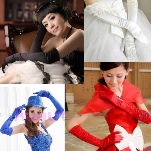 Damen Lange Satin Handschuhe Handstulpen Brauthandschuhe Armstulpen Hochzeit