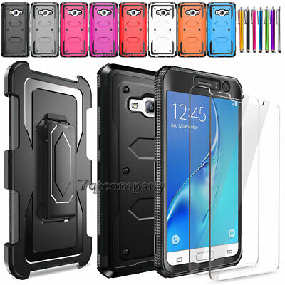 For Samsung Galaxy J3 V / Sky 2016 Hybrid Rugged Rubber Hard Case Cover
