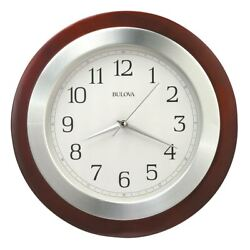Bulova Wall Clock Reedham Walnut Wood and Aluminum White Dial C4228