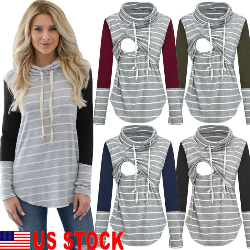 US Womens Maternity Clothes Breastfeeding Tee Nursing Tops Long Sleeve T-shirt