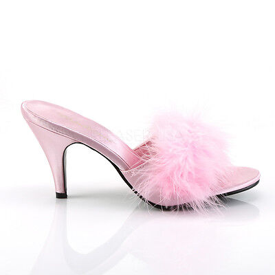 Pink Satin Marabou 50s Boudoir PinUp Drag Queen Heels Woman Shoes size 13 14 15