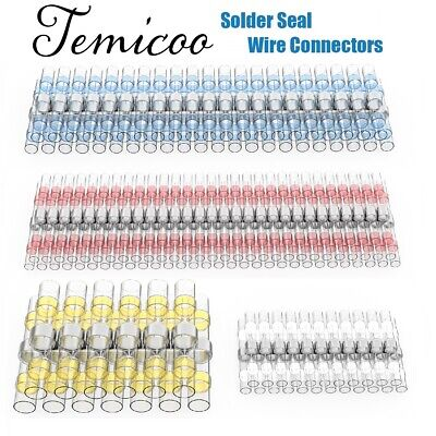 150PCS Solder Seal Heat Shrink Wire Connector Sleeve Kit Splice Butt Waterproof