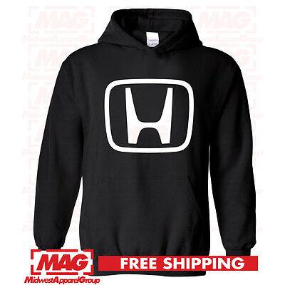 HONDA LOGO IN WHITE HOODIE BLACK Hooded Sweatshirt Motocross Racing CBR OEM