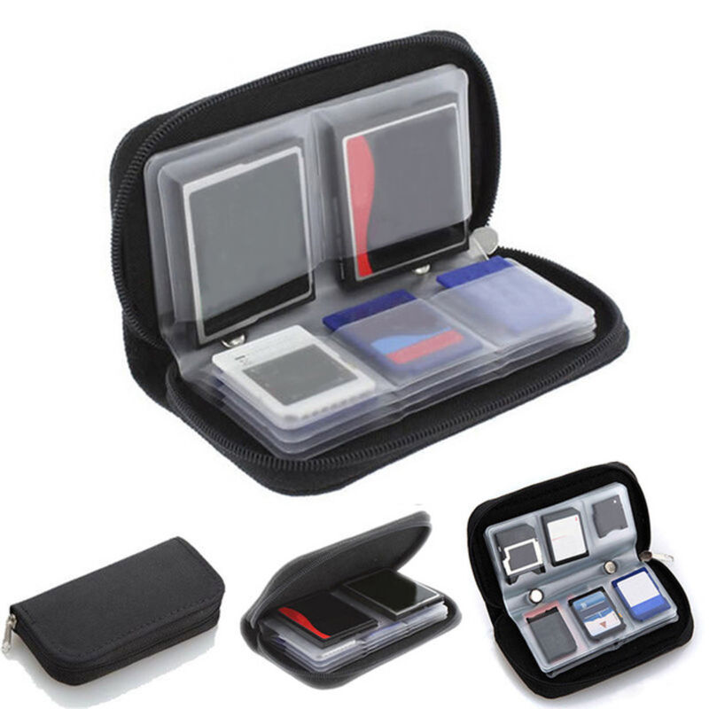 Black 22 SDHC MMC Micro SD Memory Carrying Zipper Pouch Holder Card Storage Case