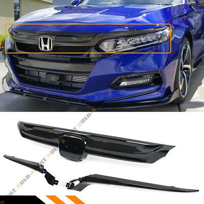 For 2018 2019 10th Gen Honda Accord Sedan JDM Sport Style Grille Glossy Black
