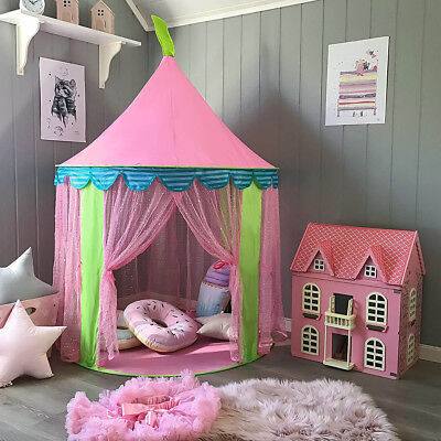 140cm Girls Pink Play Tent Teepee Kids Playhouse with Mesh Window & Carrying Bag for sale  USA