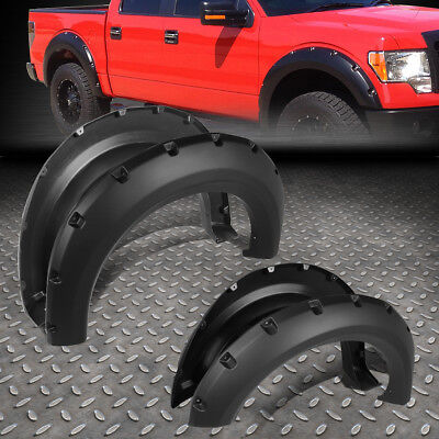 "FOR 09-14 F150 PICKUP SMOOTH POCKET-RIVETED WHEEL FENDER FLARES 1.5"" 4PCS COVER"
