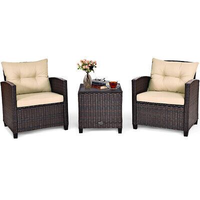 3PCS Patio Rattan Furniture Set Cushioned Conversation Set Sofa Coffee Table