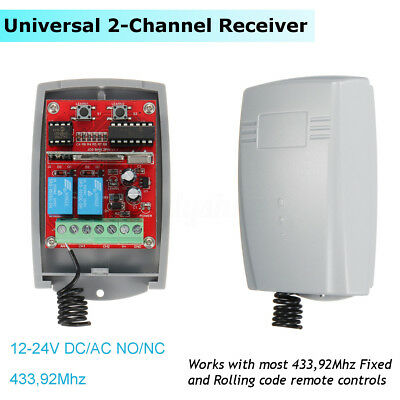 Universal 2-Channel Receiver 433,92MHz Remote Control Rolling &Fixed Code 12-24V