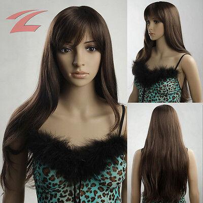 70cm Damen Perücke Hellbraun Haar wie Echthaar Wigs Gelockt Lang Cosplay (Braune Perücke Kostüme)