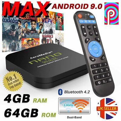 2020 NANO MAX 4GB+64GB Android TV Box 9.0 HD Media Player 2.4/5GHz WiFi BT HDMI