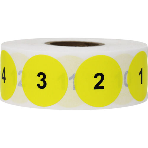 """Yellow & Black Consecutive Number Inventory Labels 1 - 1000 