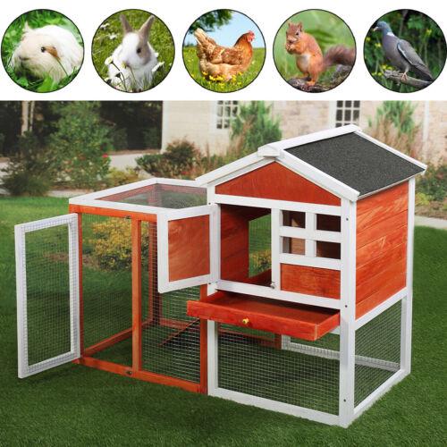 Wooden Rabbit Hutch Cage House Habitat Animal Pet Small Chicken Coop Outdoor