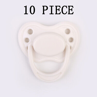 10 Pieces White Dummy Pacifier For Reborn Baby Dolls Supplies Nipple Accessories