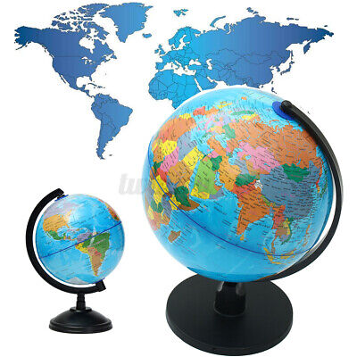 """10"""" Stand Rotating World Globe Map Kid Gift School Student Geography Educational"""