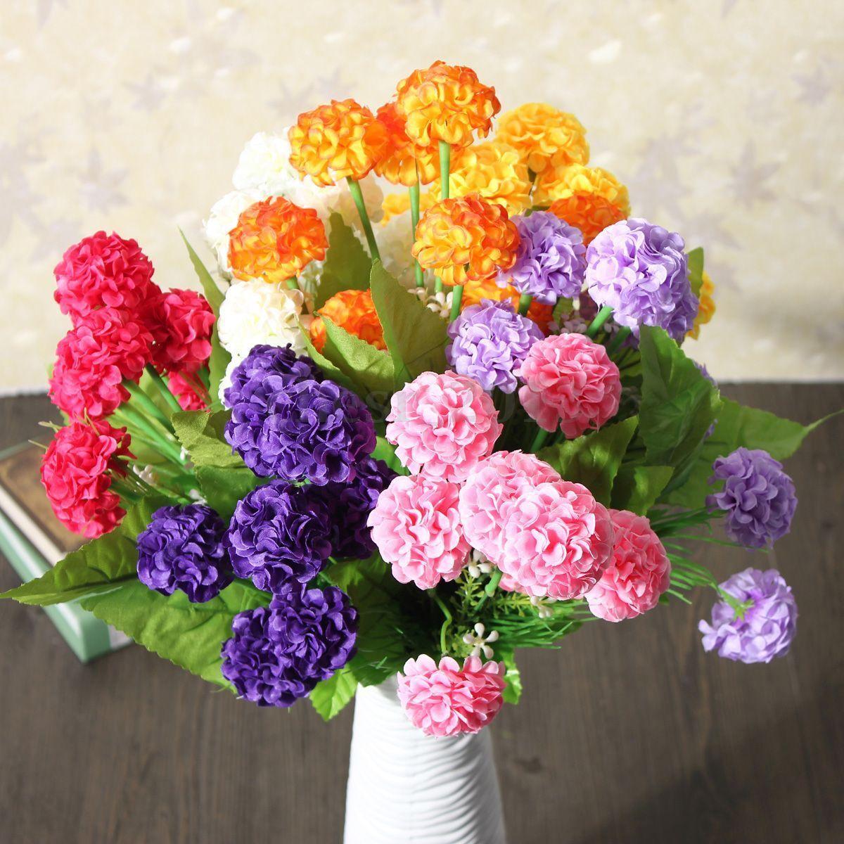Home Decoration - 1 Bunch Wedding Artificial Silk Hydrangea Posy Flower Bouquet Home Party Decor