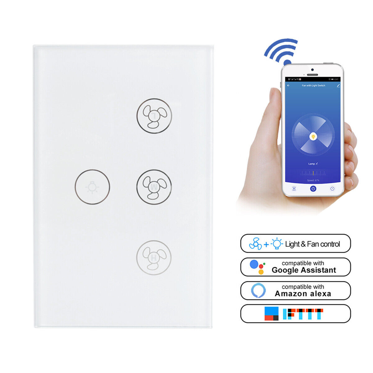 как выглядит Smart WiFi Ceiling Fan Light Lamp Switch In-Wall For Alexa Google Home Assistant фото