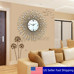 60CM Scenic Iron Art Metal Living Room Round Diamond Wall Clock Home House  !