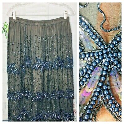 Womens Skirt Heavy Beaded Silk Blend Pull On Formal Party Gray Layers Large XL
