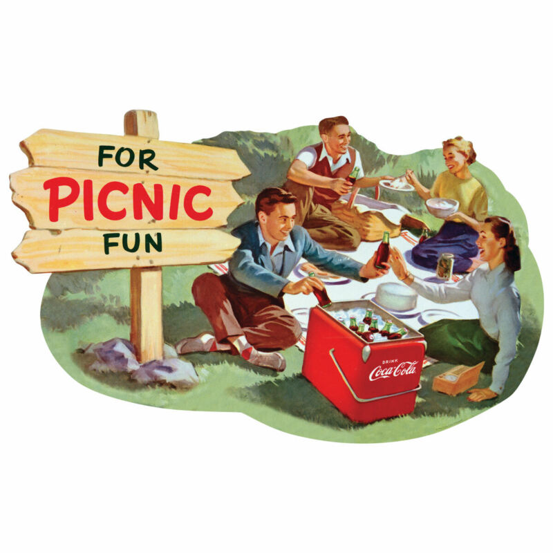 Coca-Cola for Picnic Fun 1950s Wall Decal Vintage Style Kitchen Decor
