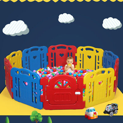 Baby Playpen Kids 10 Panel Safety Play Fence Center Yard Home Indoor Outdoor Pen